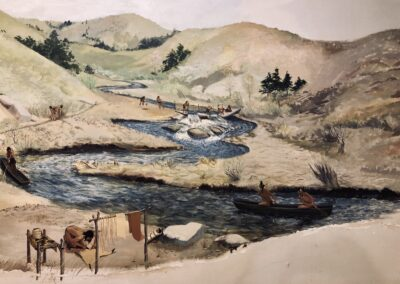 A landscape painting of trees and a river by William S. Fowler at the Robbins Museum.
